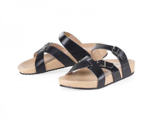 รูปด้านหน้า รองเท้าแตะเพื่อสุขภาพ Klas & Sylph แบบสวม รุ่น Avery สีดำ ลดอาการปวดรองช้ำ ปวดส้นเท้า
