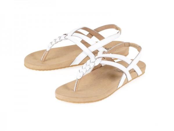 รูปด้านหน้า รองเท้าแตะเพื่อสุขภาพ Klas & Sylph แบบหูคีบมีสายรัดส้นเท้า รุ่น Calista สีขาว