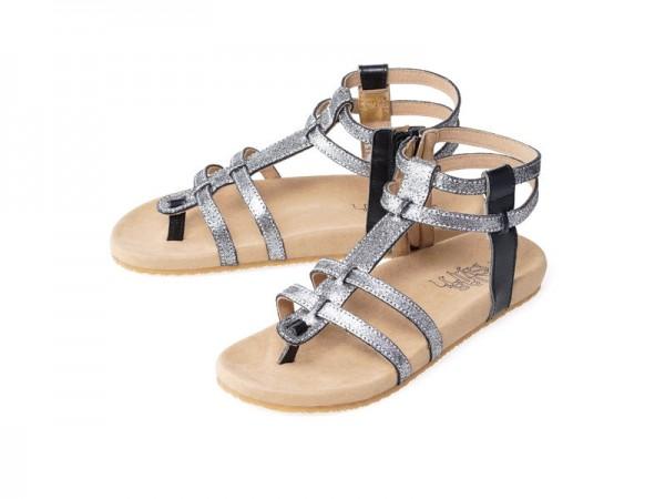 รูปด้านหน้า รองเท้าแตะเพื่อสุขภาพ Klas & Sylph แบบสวมรัดข้อ รุ่น Dimitra สีเงินกลิตเตอร์เมทัลลัค