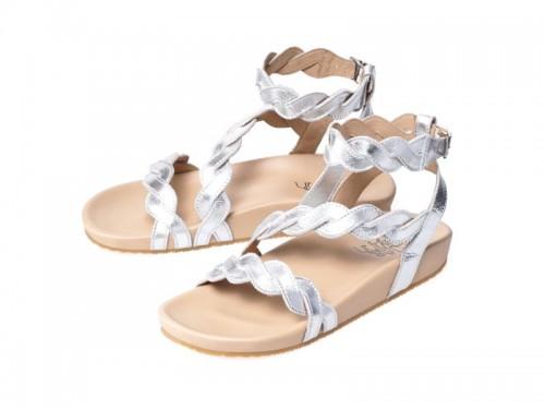 รูปด้านหน้า รองเท้าแตะเพื่อสุขภาพผู้หญิง Klas & Sylph แบบสวมรัดข้อ รุ่น Elsa สีเงิน