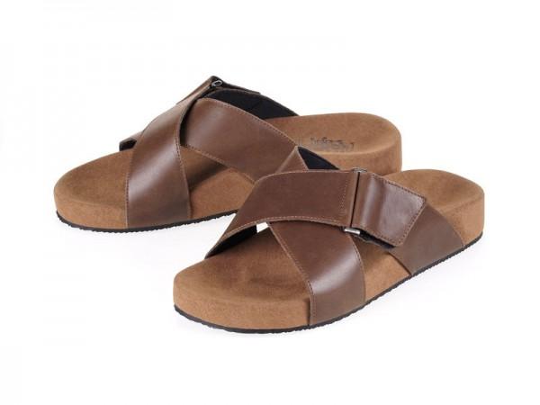 รูปด้านหน้า รองเท้าแตะเพื่อสุขภาพผู้ชาย Klas & Sylph แบบสวม รุ่น Sangria สีน้ำตาลทูโทน ลดอาการปวดรองช้ำ ปวดส้นเท้า