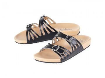 รูปด้านหน้า รองเท้าแตะเพื่อสุขภาพ Klas & Sylph แบบสวม รุ่น Stella สีดำ ลดอาการปวดรองช้ำ ปวดส้นเท้า
