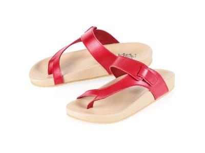 รูปด้านหน้า รองเท้าแตะเพื่อสุขภาพผู้หญิง Klas & Sylph แบบหูคีบ รุ่น Tracy สีแดง ลดอาการปวดรองช้ำ ปวดส้นเท้า