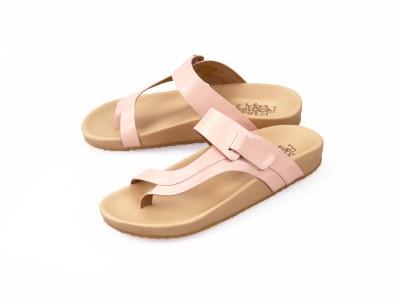 รูปด้านหน้า รองเท้าแตะเพื่อสุขภาพผู้หญิง Klas & Sylph แบบหูคีบกันน้ำ รุ่น Tracy สีชมพูพาสเทล ลดอาการปวดรองช้ำ ปวดส้นเท้า