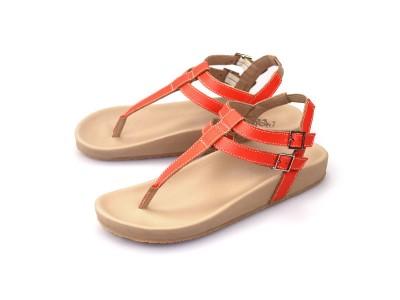 รูปด้านหน้า รองเท้าแตะเพื่อสุขภาพผู้หญิง Klas & Sylph แบบหูคีบ รุ่น Tamara สีส้ม ลดอาการปวดรองช้ำ ปวดส้นเท้า