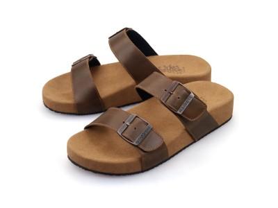รูปด้านหน้า รองเท้าแตะเพื่อสุขภาพผู้ชาย Klas & Sylph แบบสวม รุ่น Mimosa สีน้ำตาลทูโทน ลดอาการปวดรองช้ำ ปวดส้นเท้า