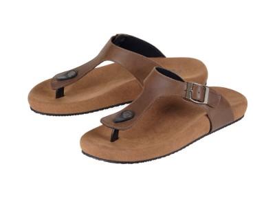 รูปด้านหน้า รองเท้าแตะเพื่อสุขภาพผู้ชาย Klas & Sylph แบบหูคีบ รุ่น Panama สีน้ำตาลทูโทน ลดอาการปวดรองช้ำ ปวดส้นเท้า