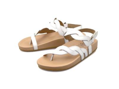 รูปด้านหน้า รองเท้าแตะเพื่อสุขภาพผู้หญิง Klas & Sylph แบบหูคีบ รุ่น Elena-B สีขาว มีสายรัดข้อเท้า