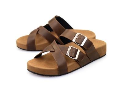 รูปด้านหน้า รองเท้าแตะเพื่อสุขภาพผู้ชาย Klas & Sylph แบบสวม รุ่น Palermo สีน้ำตาลทูโทน ลดอาการปวดรองช้ำ ปวดส้นเท้า