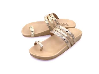 รูปด้านหน้า รองเท้าแตะเพื่อสุขภาพผู้หญิง Klas & Sylph รุ่น Sasha สีทองกลิตเตอร์ ลดอาการปวดรองช้ำ ปวดส้นเท้า
