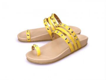 รูปด้านหน้า รองเท้าแตะเพื่อสุขภาพผู้หญิง Klas & Sylph กันน้ำ รุ่น Sasha สีเหลือง ลดอาการปวดรองช้ำ ปวดส้นเท้า