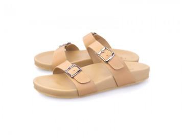 รูปด้านหน้า รองเท้าแตะเพื่อสุขภาพผู้หญิง Klas & Sylph แบบสวม รุ่น Alison สีเบจ ลดอาการปวดรองช้ำ ปวดส้นเท้า