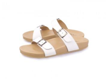 รูปด้านหน้า รองเท้าแตะเพื่อสุขภาพผู้หญิง Klas & Sylph แบบสวม รุ่น Alison สีขาว ลดอาการปวดรองช้ำ ปวดส้นเท้า