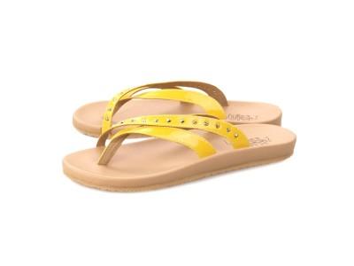 ภาพด้านหน้า รองเท้าแตะเพื่อสุขภาพ Klas & Sylph กันน้ำแบบหูคีบ รุ่น Sienna สีเหลือง พื้นนุ่มสบาย