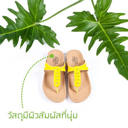 รูปรองเท้าแตะเพื่่อสุขภาพ Klas & Sylph รุ่น Kiera สีเหลือง มีใบไม้ประกอบฉาก