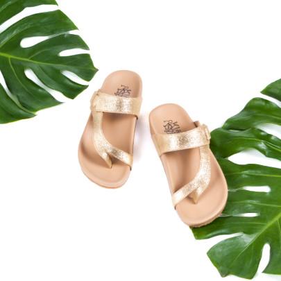 รองเท้าแตะเพื่อสุขภาพรุ่น Tracy สีทองกลิตเตอร์ มีใบไม้ประกอบฉาก ภาพเล็ก