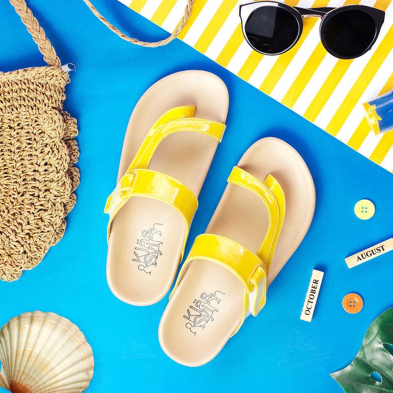 รองเท้าแตะเพื่อสุขภาพกันน้ำ Klas & Sylph รุ่น Tracy สีเหลือง