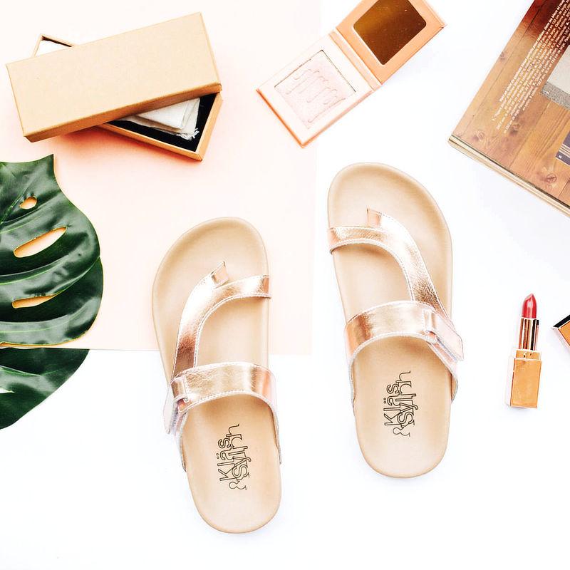 รองเท้าแตะเพื่อสุขภาพ Klas & Sylph รุ่น Tracy สีโรสโกลด์ (2)